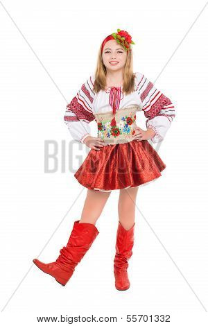 Little Girl Wearing National Clothes