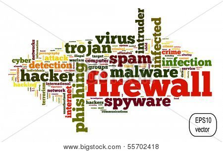 Firewall concept in vector word tag cloud on white background