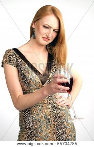 Beautiful Girl Frowns On Alcohol