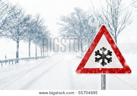 winter driving - caution - snowfall
