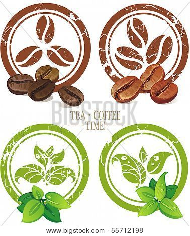 Set of vintage icons with coffee beans and tea leaves. Vector illustration