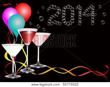 A 2014 new year party image with balloons, drinks and  party ribbons with  2014 bubbles lettering