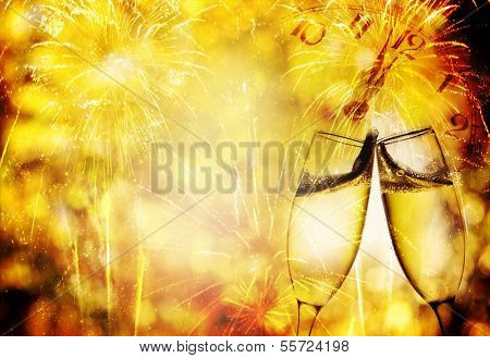 New Year's at midnight with champagne glasses, fireworks and clock on light background