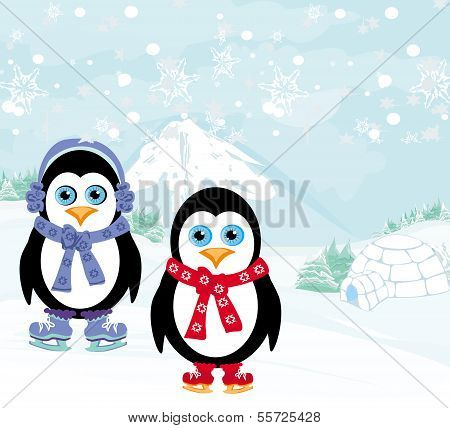 Ice Skating Penguins