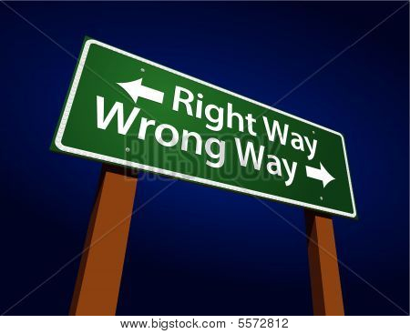 Right Way, Wrong Way Green Road Sign Illustration