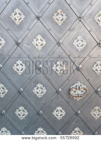 Background With Gray Metal Door