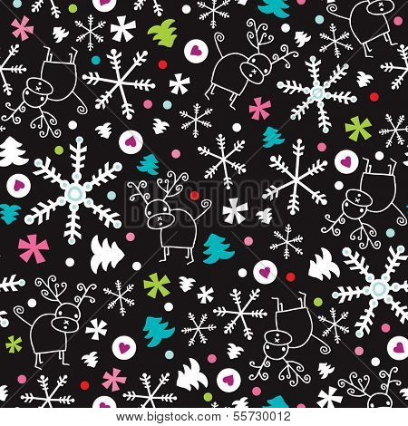 Seamless snow flakes and reindeer doodle background pattern in vector