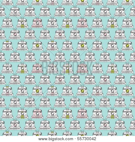 Seamless vintage toy camera illustration background pattern in vector