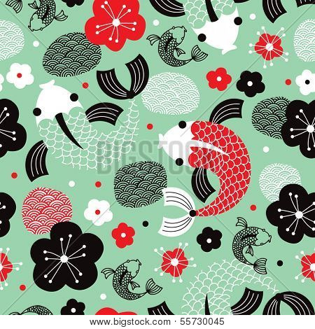 Seamless Koi Carp fish asian illustration background pattern in vector