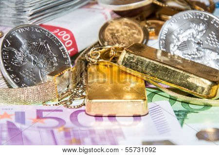 Euro Bills, Gold And Silver
