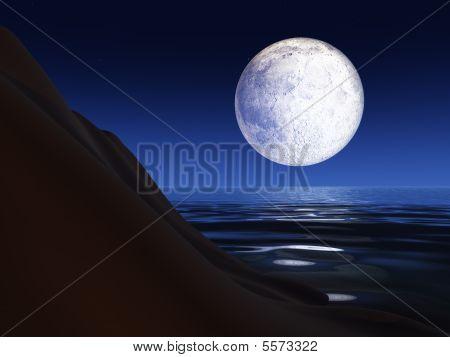 Full Moon Over A Sea Cliff