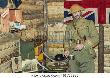 Wwi British Army Officer In His Office