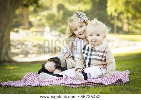 Sweet Little Girl Sitting with Her Baby Brother on a Picnic Blanket Outdoors at the Park.