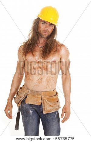 Man Dirty Hard Hat Tool Belt