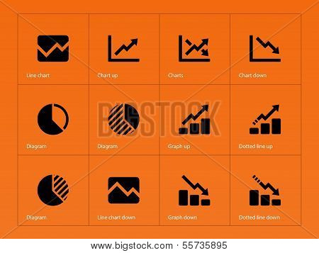 Line chart and Diagram icons on orange background.