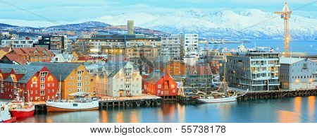 Aerial view of Tromso Cityscape at dusk Troms Norway