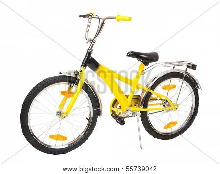 yellow bicycle isolated on white