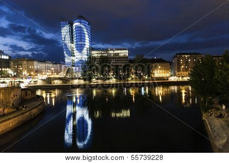 Facade Of Uniqua Tower By Night