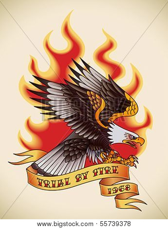 Bald eagle attacking through the fire and flames. Old-school tattoo design. Editable vector illustration.