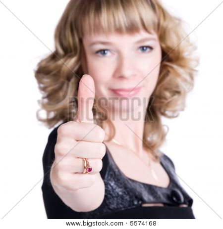 Young Woman Showing Excellent Handsign