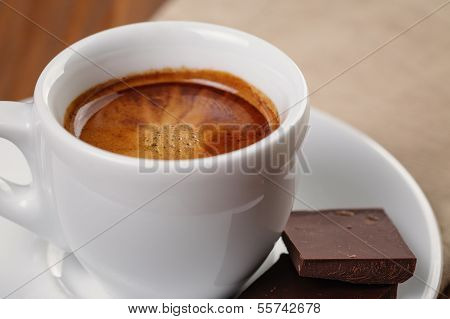 Freshly Made Espresso Shot With Chocolate