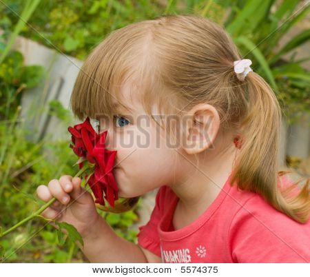 Little Girl Smelling Rose