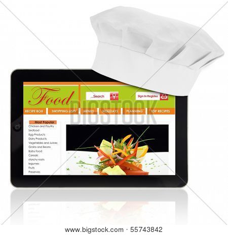 Tablet computer with chef and recipe website template isolated