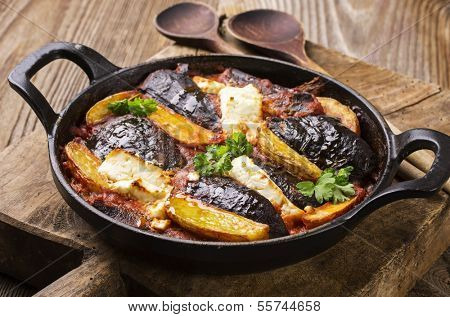 baked eggplant with potato greek style
