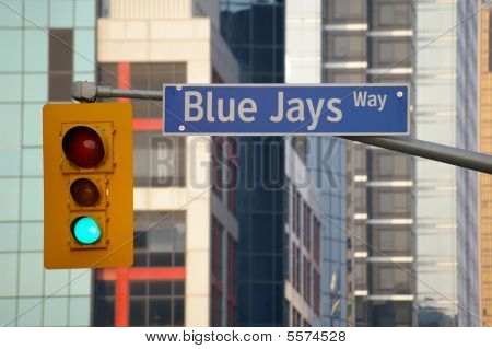 Street Sign And Traffic Light