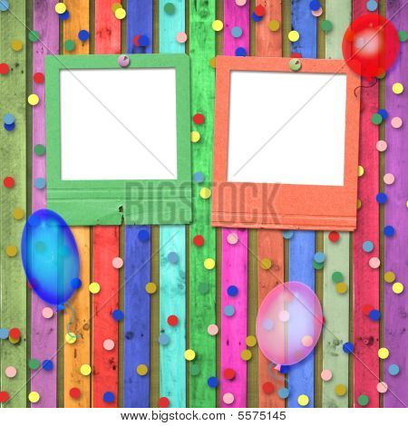 Old Slides With Balloons And Confetti On The Abstract Background