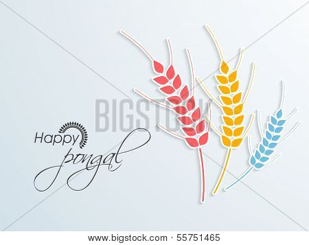 Happy Pongal, harvest festival celebration in South India background with colorful illustration of wheat grain on blue background.