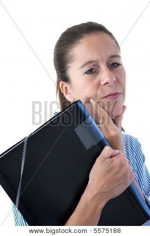 Middle Aged Business Woman Looking Thoughtful With File