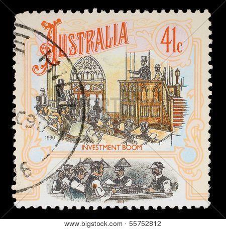 AUSTRALIA - CIRCA 1990: A Stamp printed in AUSTRALIA shows the Stock Exchange, Colonial Development, Boomtime series, circa 1990