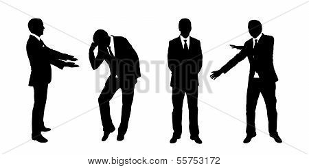 Businessman Standing Silhouettes Set 2