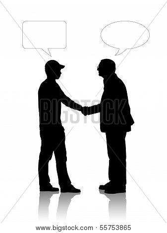 alte und junge Männer, die ihre Hände schütteln