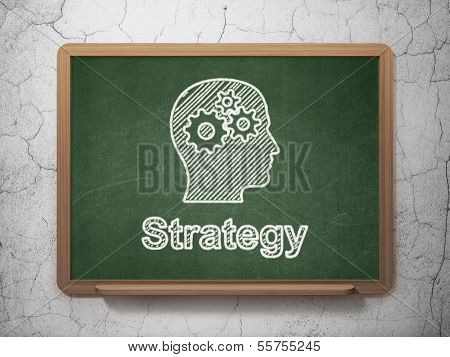 Business concept: Head With Gears and Strategy on chalkboard background
