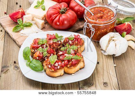 Antipasti (bruschetta) On A Plate