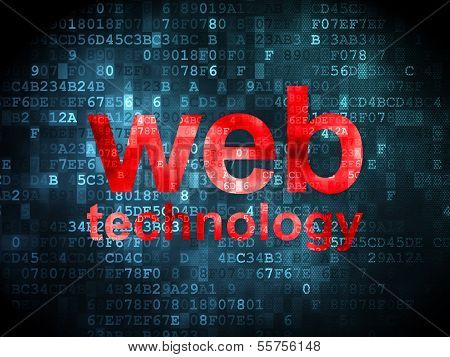 SEO web design concept: Web Technology on digital background