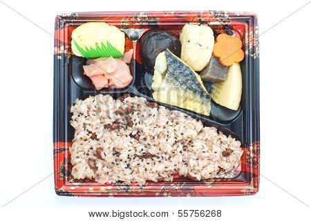 Contemporary Japanese ready-made lunchbox (bento box)