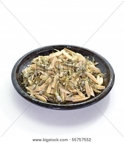 japanese healthy snack food, almond and favoured dried sardine