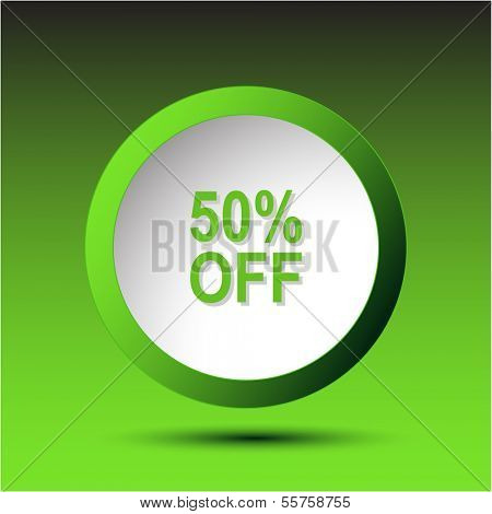 50% OFF. Plastic button. Raster illustration.