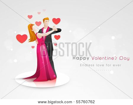 Young love couple in dancing position on shiny grey background. Valentines day concept.