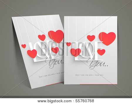 Happy Valentines day card with heart shape and stylish text love on grey background.