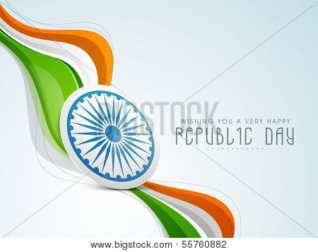 Stylish Indian Republic Day concept with ashoka wheel in national tricolours wave on blue background.