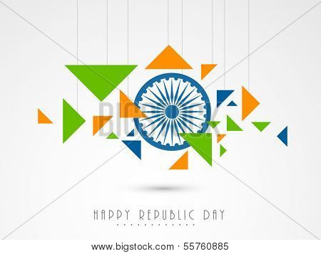 Stylish Happy Indian Republic Day concept with ashoka wheel and hanging national tricolours triangles on grey background.