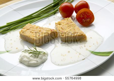 Slices Of Fish Pie On Plate