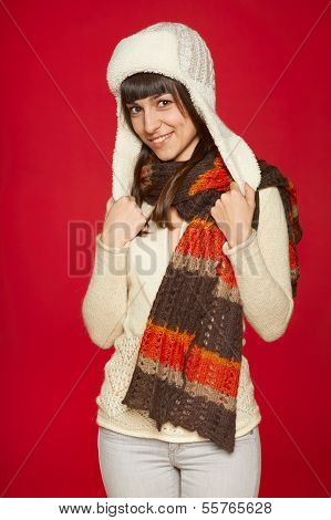 Winter woman in warm clothing