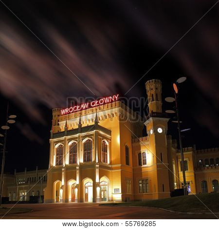 WROCLAW, POLAND - AUGUST 04th, 2013: Main railway station at night in Wroclaw, Poland