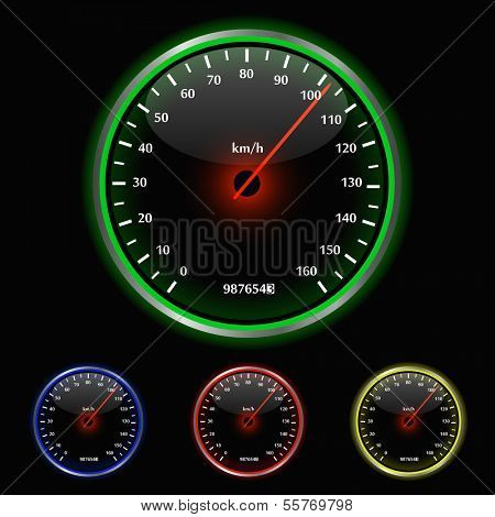 Colorful Speedometer Vector Illustration