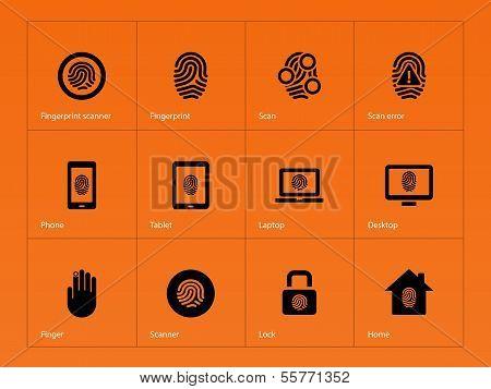Fingerprint icons on orange background.